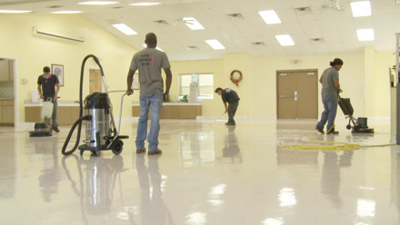 Large area floor stripping and waxing at upriver rv resort N. Fort Myers, FL
